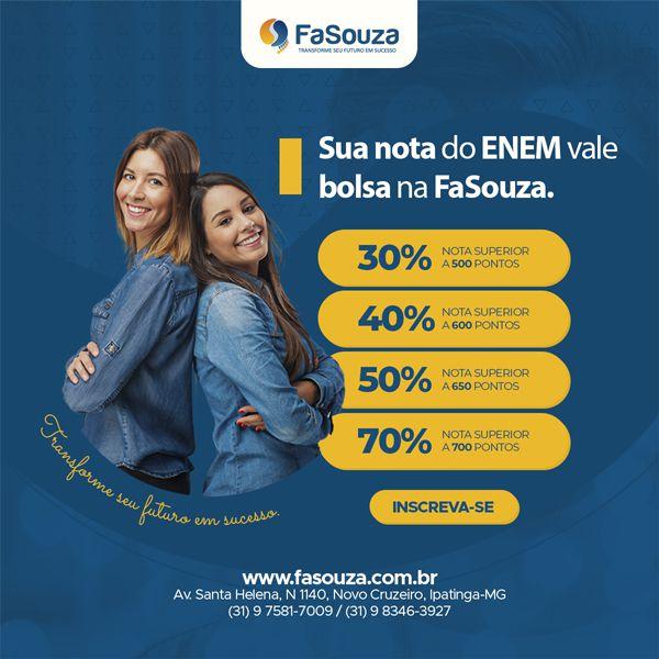 FaSouza oferta bolsas de até 70% para candidatos da graduação que realizaram o ENEM